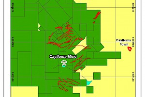 Caylloma Mine concessions and main structures map
