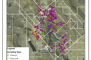 Caylloma Ag in rock chip & channel samples map