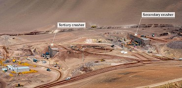 Panoramic view of the tertiary and secondary crushers