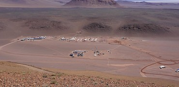 Camp construction (Looking north from the Lindero deposit)