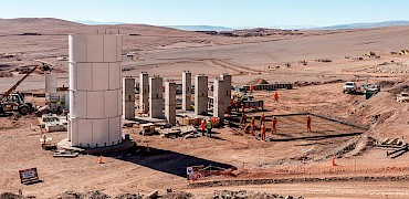 { Agglomeration plant: Cement silo and surge bin's support structure installation work }