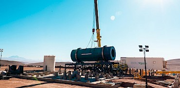 { Agglomeration plant: Agglomeration drum installation work }