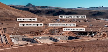Panoramic view of the solution ponds: SART, Pregnant solution, Intermediate solution, Barren and Major events