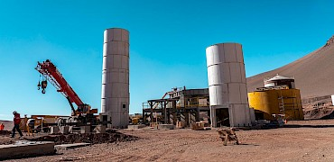 { Agglomeration plant: Cement silo erection work }