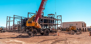 Agglomeration plant: Agglomeration drums´ structure installation work