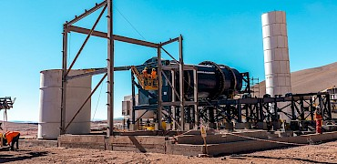 Agglomeration plant: Agglomeration drum installation work