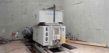 Tertiary crusher: Electrical room transformer installation work