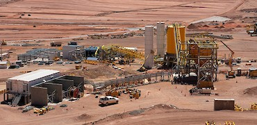 Panoramic view of tertiary crusher feeder bin and agglomeration plant
