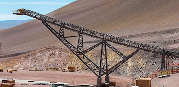 Conveyor belt from secondary crusher to stockpile