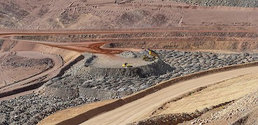 Panoramic view of Lindero deposit coarse ore stockpile