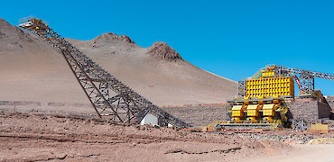 Panoramic view of stockpile and secondary crusher (view from tertiary crusher)