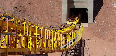 Conveyor belt installation work from stockpile to tertiary crusher