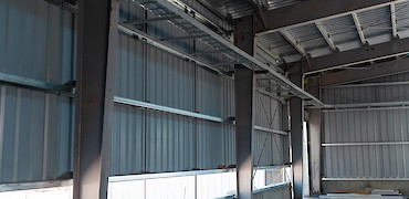 Agglomeration plant: Cyanide room cable rack installation work