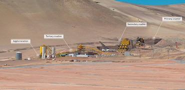 Panoramic view of crushing circuit, agglomeration plant and leach pad