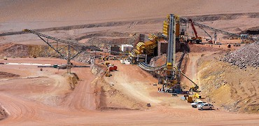 Panoramic view of secondary crusher and stockpile