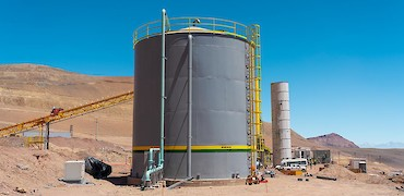 Agglomeration plant: Water tank installation work
