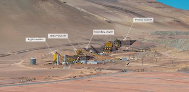 Panoramic view of crushing circuit, agglomeration plant, and leach pad