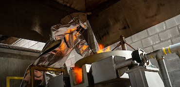 Gold refinery room: First gold pour
